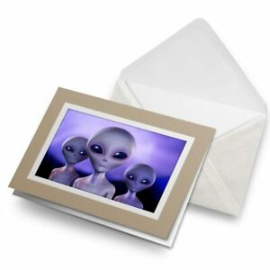 Greetings-Card-Biege-Funky-Grey-Aliens-Space-Sci-Fi-8214