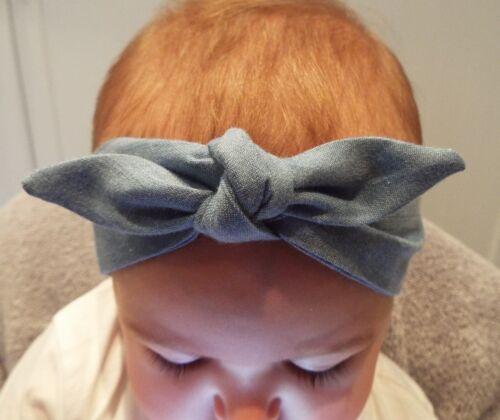 LIGHT BLUE DENIM HEADWRAP WRAP HEADBAND KNOT BOW BABY TODDLER GIRLS NEW