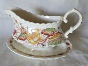 Vernon-Kilns-Vintage-034-Vernon-Yellow-Rose-034-Gravy-Sauce-Boat-Excellent-Condition