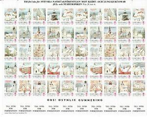 S26895) Sweden 1982/83 MNH Tuberculosis Christmas Sheet God Helg Cinderella