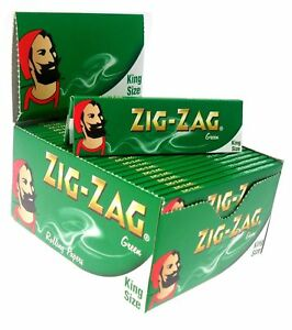 1-5-10-25-50-ZIG-ZAG-KING-SIZE-GREEN-SMOKING-CIGARETTE-ROLLING-PAPERS-GENUINE