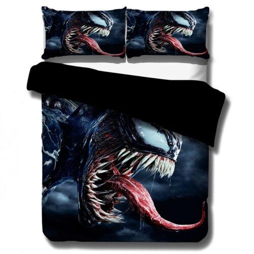 Venom 3D Bedding Set 3PCs Duvet Quilt Cover Pillowcase Twin Double Single King