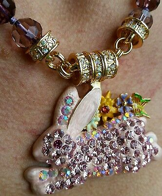 Kirks Folly Run Away Bunny Magnetic Interchangeable Necklace Goldtone//Pink