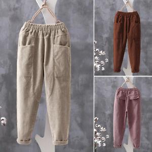 ZANZEA-Femme-Pantalon-Harlan-Poches-Casual-en-vrac-Jambes-larges-Ample-Plus