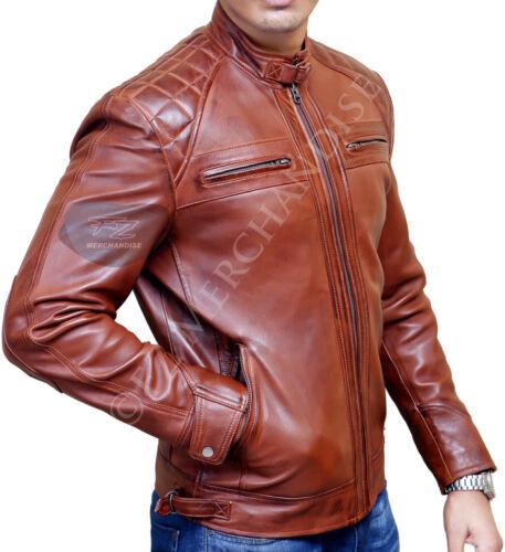 Retro da uomo vintage Racer marrone moto pelle in Giacca invecchiata motociclista da da fPwqg