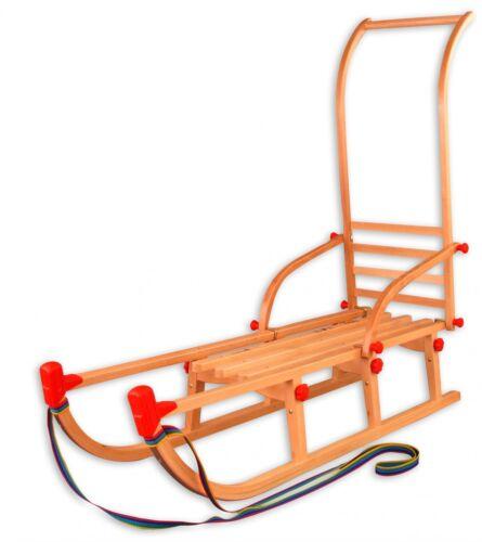 Klappschlitten 115cm Davoser Rodel mit Schubstange Holzschlitten 22-115-Stange