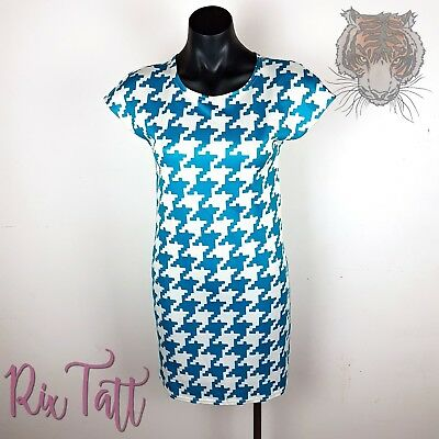 BOOHOO size 10 Aqua Blue White Houndstooth Patterned Simple Bodycon Wiggle Dress   eBay