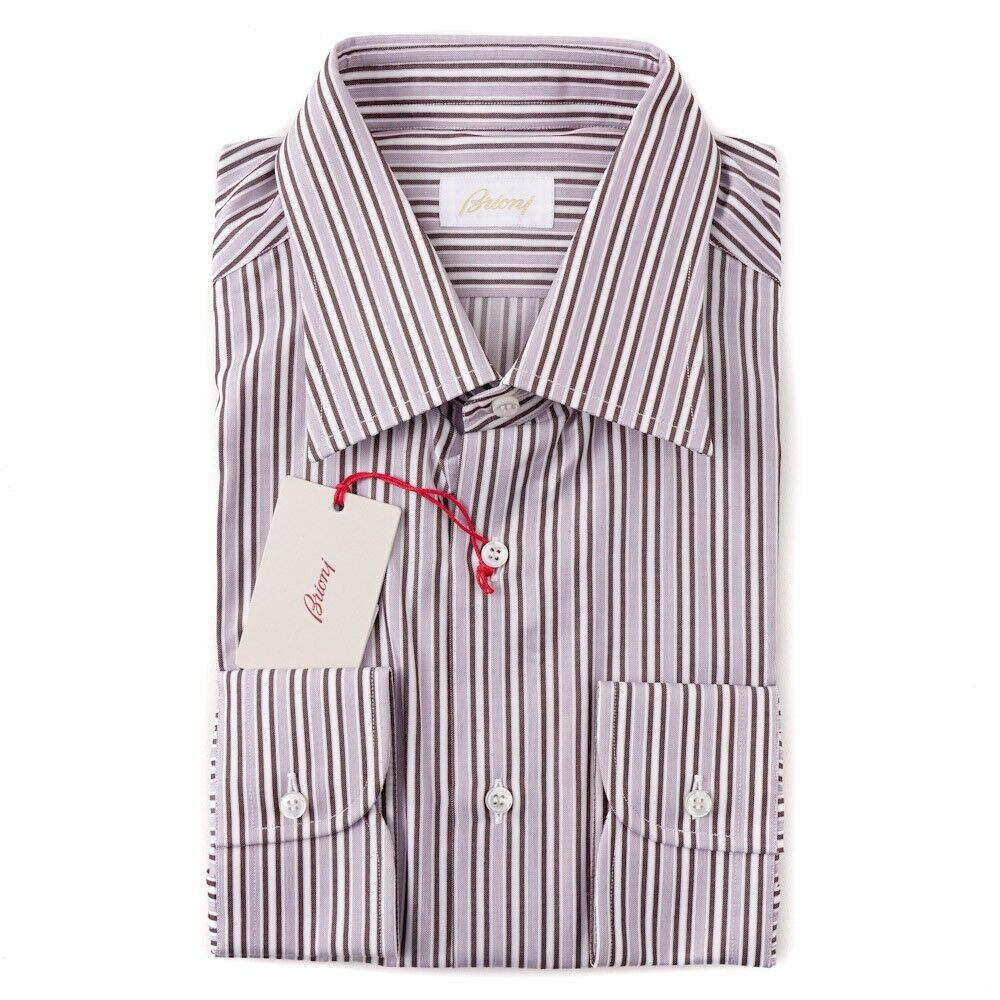 NWT  BRIONI Lavender and Brown Stripe Cotton Dress Shirt 15.75 x 35
