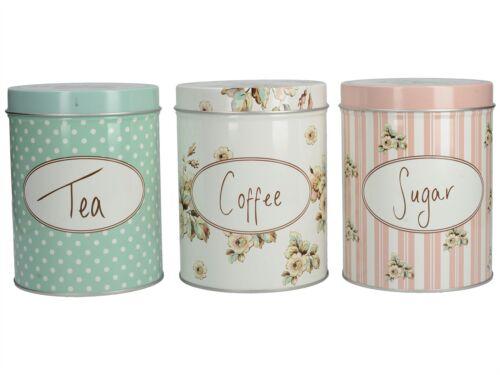Katie Alice Cottage Flower Tea Coffee Sugar Set Of 3 Tins