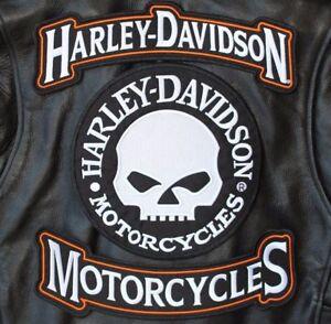 Details about HARLEY ROCKERS WILLIE G  SKULL Motorcycle Jacket Vest BACK  PATCH large 3pc  Set
