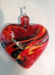 Glass-Eye-Studio-Magenta-Lace-Heart-Glass-Ornament-Item-179-Made-in-USA