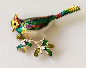 Bird-brooch-in-enamel-on-gold-Tone-Metal-with-crystal