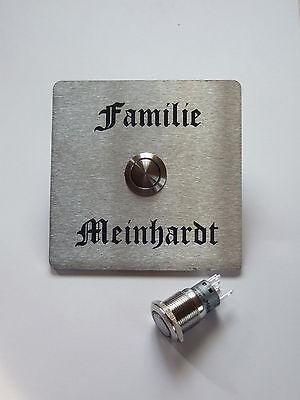 Gravur//Beschriftung Klingelschild,Türklingel,Klingelplatte 3 mm Edelstahl inkl