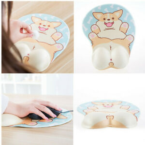 Husky Anime Dog 3D Mouse Pad Soft Gel Ergonomic Mouse Map Office Mousepad with Wrist Support for PC Laptop