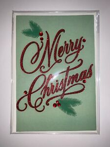 Christmas-Card-Hallmark-Signature-w-3-D-Merry-Christmas-in-Red-Glitter