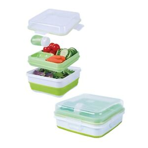 cool gear ez freeze collapsible bento set lunch box salad to go green ebay. Black Bedroom Furniture Sets. Home Design Ideas