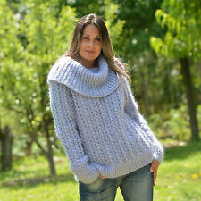 ❤ EXTRAVAGANTZA ❤ Hand Knitted Mohair Sweater Fuzzy GRAY Cowlneck Turtleneck