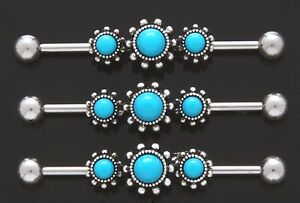 1-Fancy-Triple-Round-Turquoise-316L-Surgical-Steel-14g-1-5-034-Industrial-Barbell