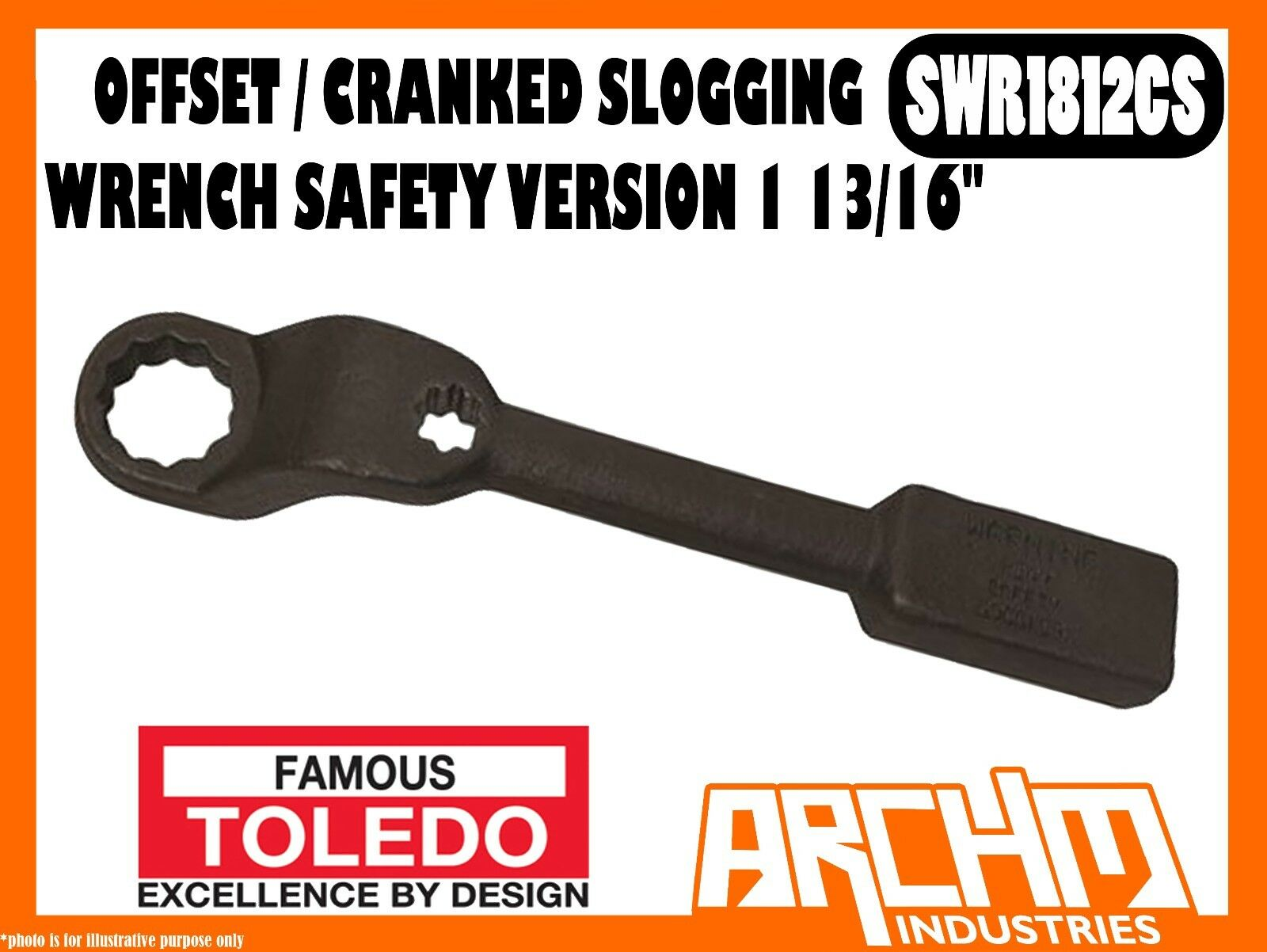 TOLEDO SWR1812CS OFFSET CRANKED SLOGGING WRENCH SAFETY VERSION 1 13 16  IMPERIAL