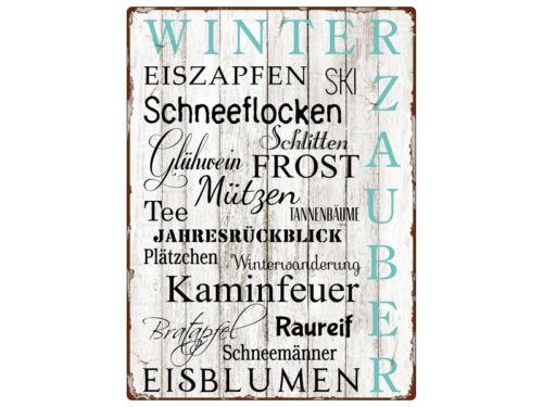 WANDSCHILD Metallschild WINTERZAUBER EISZAPFEN Geschenk Deko Winter Christmas