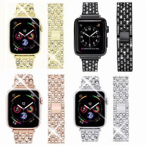 For Apple Watch Series 5 4 321 Band Stainless Steel Women S Bling Diamond Strap Ebay