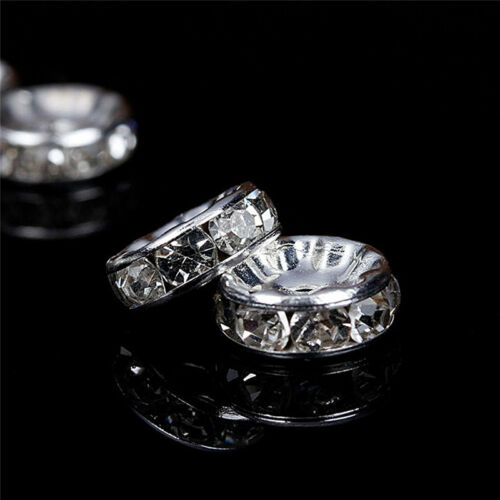 100x Silver Gold Crystal Rhinestone Rondelle Spacer Beads DIY 6mm 8mm  D