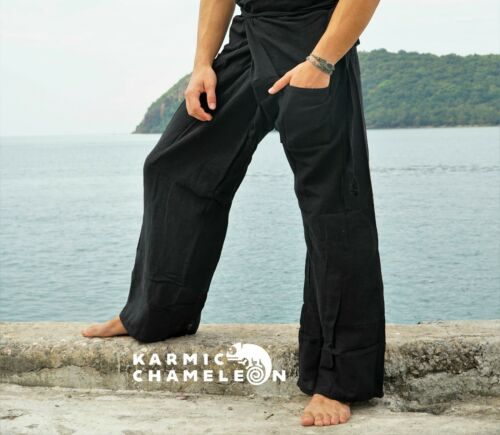 Canapa THAI PESCATORE Pantaloni Yoga Hippie Nero pianura Kung Fu Martial Arts Festival