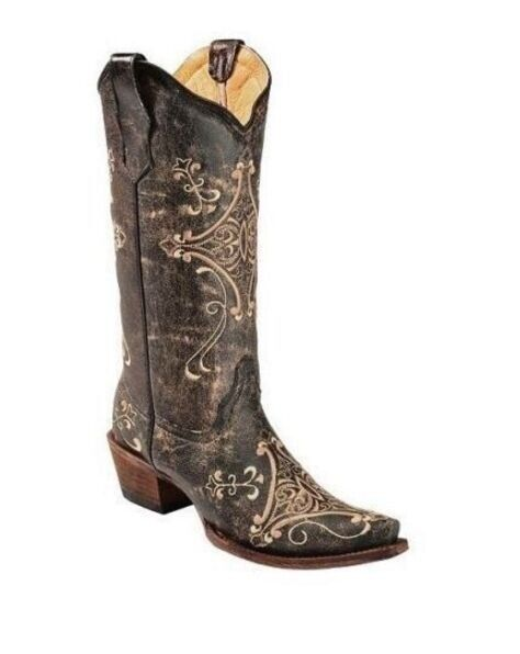 Circle G by Corral Ladies Cowgirl Western Boots Black Crackle Bone L5048