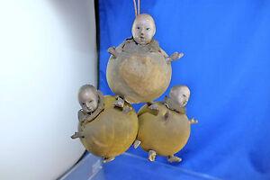 Vintage-1700s-Antique-18th-Century-Trio-Silk-Dolls-Museum-Piece-Rare-amp-Unusual