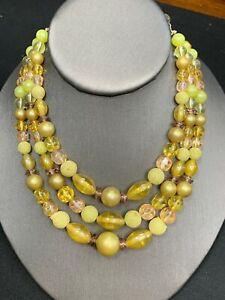 1950S-Mustard-Green-Yellow-Color-Three-Strand-Necklace-13-16-Long-Lucite
