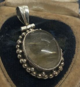 Vintage-Sterling-Silver-Necklace-925-Pendant-Stone