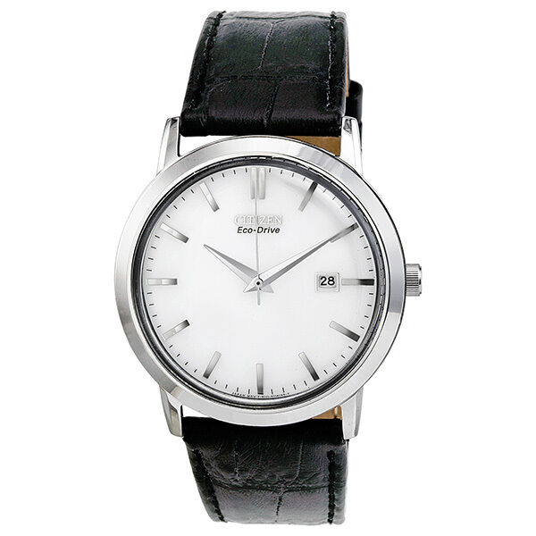 Citizen Eco-Drive Silver Dial Stainless Steel Black Leather Mens Watch