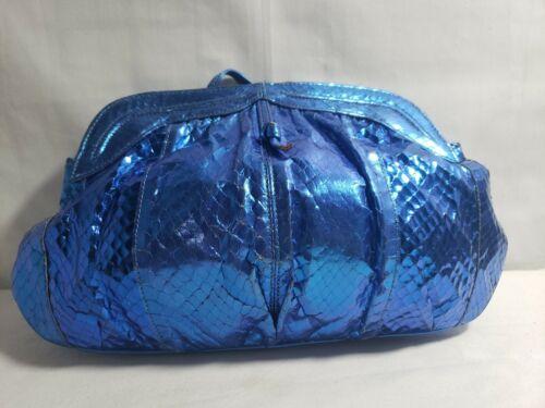 Barbara Bolan Leather Colbolt Blue Reptile Clutch