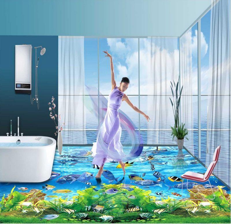 3D oceano delfino blue Pavimento Foto Wallpaper Murales Muro Stampa Decalcomania