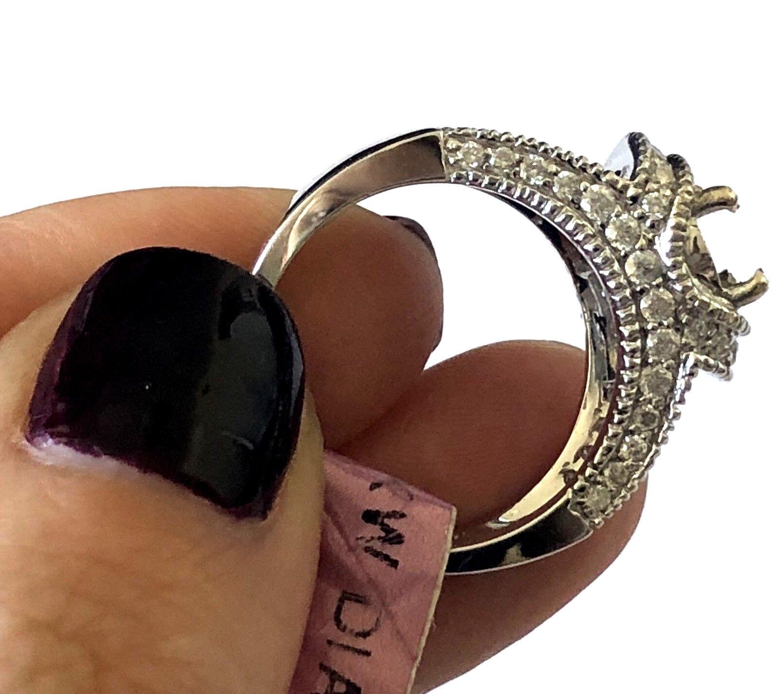 NOS 18KT BNL White gold Engagement Ring Setting 72 Diamond 0.87cttw Sz 6.5  2828
