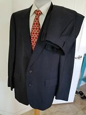 Hart Schaffner & Marx Silver Trumpeter Solid Gray Wool Suit 44R Pants 38 28 1/2
