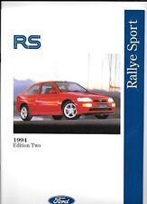 FORD FIESTA RS 1800, ESCORT RS 2000 & ESCORT RS COSWORTH CAR BROCHURE SEPT. 1994