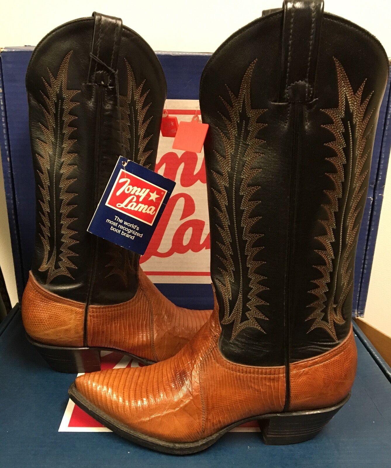 Tony Lama Women's Western Boots  Tan & Black Lizard Y8403 Size 5 B
