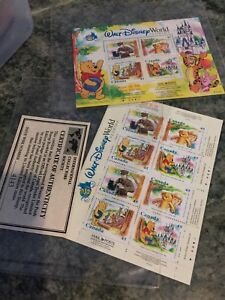 2-Walt-Disney-Word-Florida-CANADA-Stamps-Booklet-45-cents-Mail-Poste-Stamps