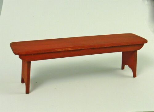 Dollhouse Miniature Artisan Red Aged Wooden Bench Signed