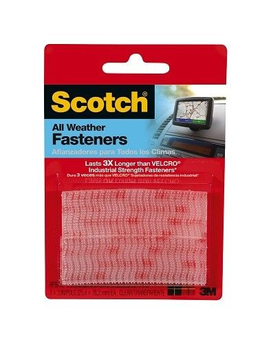 Strips Clear 4 Pack 3M 64284 Scotch All-Weather Fasteners 1 Inch x 3 Inches