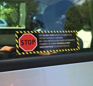 Achtung Kaufvertrag Aufkleber Auto Stop Kein Verkauf Nix Karte