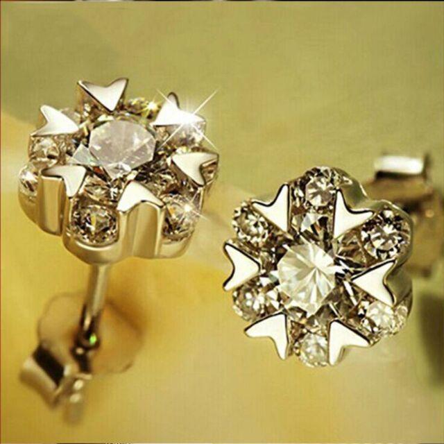 Flower Silver Plated Gem Christmas Snow Dance Jewelry Earrings Ear Stud