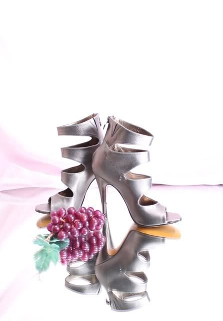 Nando Muzi 6275 Pewter Leather Strappy Heel Zip-Up Sandals 37 37 37   US 7 14ee15