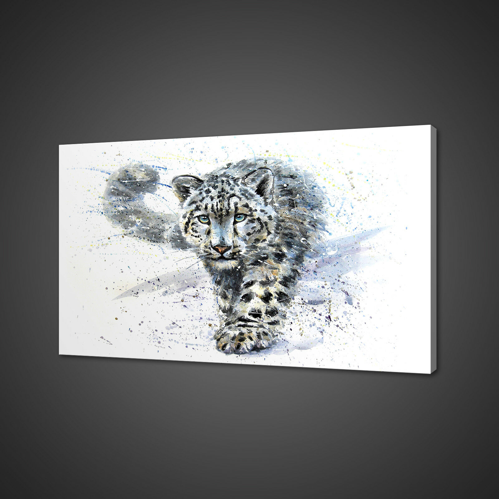 SNOW LEOPARD ABSTRACT PICTURE PRINT WALL ART HOME DECOR FREE FAST DELIVERY