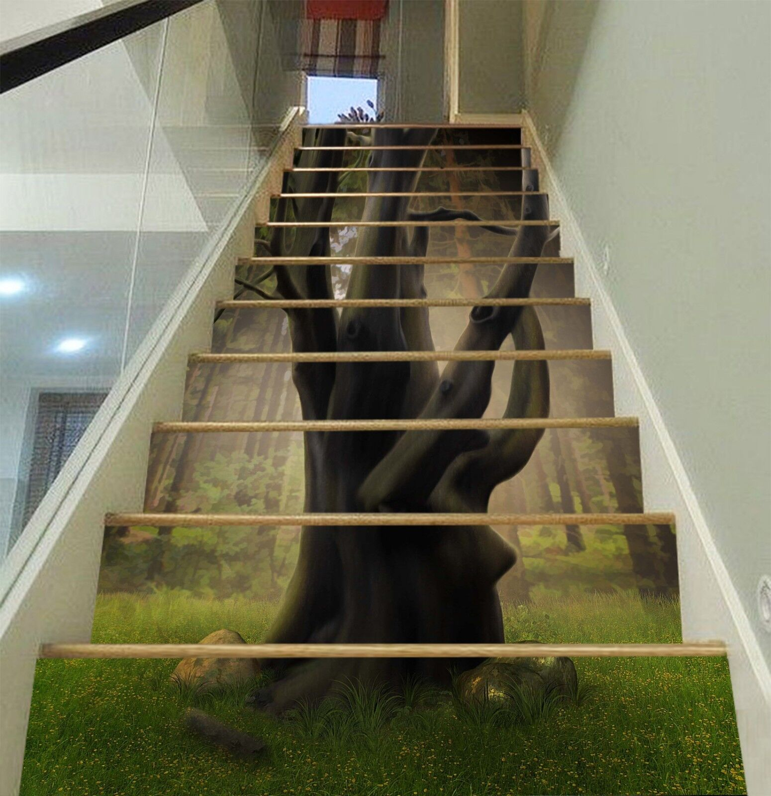 3D Trunk Meadow 4 Stair Risers Decoration Photo Mural Vinyl Decal Wallpaper CA