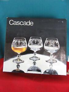 4-Vintage-Ornate-Etched-Crystal-Brandy-Glasses-Bohemia-Cascade