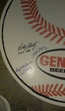 Original 1960s Genesee Beer Baseball Double sided Sign Auto by 6 W.Spahn, shantz