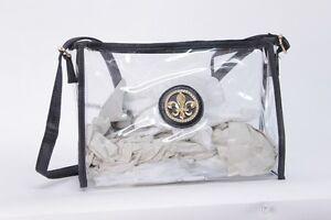 Image Is Loading Clear Purse Handbag Black Messenger Sling See Through