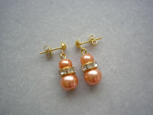 Coloured Pearl and Crystal Diamante Stud Dangle Drop Earrings Silver or Gold E1